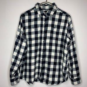 Woolrich Black White Plaid Flannel Button Down